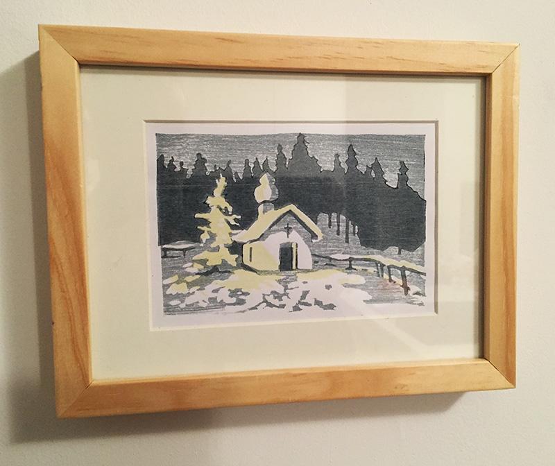 Verlosung Weihnachts Holzschnitt gerahmt