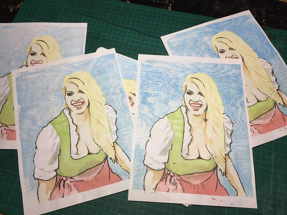 Bavarian Beauties Moku Hanga