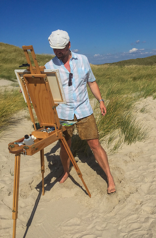 Alexander Broy bei Bjerregard in Dänemark Plein Air Malerei