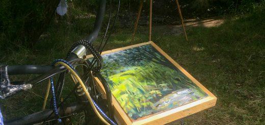 Pegnitz Ölbild mit Fahrrad