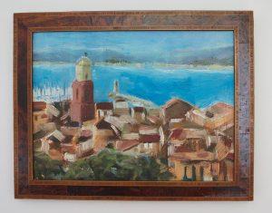 St. Tropez - Blick von der Zitadelle - 21x18cm - Öl auf Pappe. gerahmt in schönem altem französischen Holzrahmen.