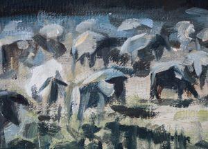 Schafe im Wiesengrund im Pegnitztal - Ölgemälde von Alexander Broy